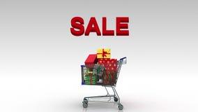Carro de la compra, caja de regalo de caída, panier, y error tipográfico 'VENTA' (alfa incluida) libre illustration