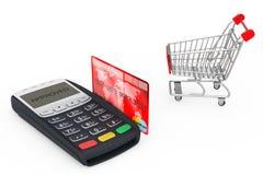 Carro de la compra cerca del terminal del pago con tarjeta de crédito representación 3d ilustración del vector