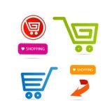 Carro de la compra, cesta, símbolos del web Imagenes de archivo