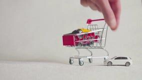 Carro de la compra con el coche, coche de la compra almacen de video
