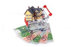 Carro de la compra con el hogar miniatura en billetes de banco euro Fotografía de archivo libre de regalías