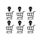 Carro de la compra con el icono determinado del descuento del porcentaje Objetos aislados en fondo Ejemplo del plano y de la hist Imagen de archivo