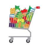 Carro de la compra con la comida fresca Imágenes de archivo libres de regalías