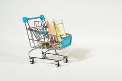Carro de la compra con las cuentas y las monedas euro Imagen de archivo libre de regalías