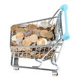 Carro de la compra con las monedas rusas aisladas Fotos de archivo