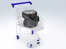 Carro de la compra con las ruedas Foto de archivo