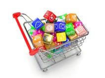 Carro de la compra con los iconos del software de aplicación Imagenes de archivo