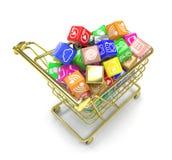 Carro de la compra con los iconos del software de aplicación Imagen de archivo