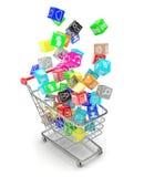 Carro de la compra con los iconos del software de aplicación Fotos de archivo libres de regalías