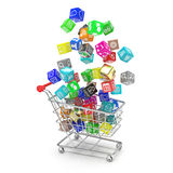 Carro de la compra con los iconos del software de aplicación Fotografía de archivo libre de regalías