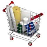 Carro de la compra con los materiales de construcción 3d rinden Foto de archivo