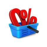 carro de la compra con un por ciento cero dentro de la cesta Fotografía de archivo libre de regalías