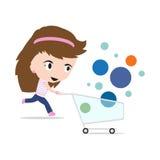 Carro de la compra de la historieta de la mujer, en el fondo blanco, ejemplo del vector en diseño plano Imagen de archivo libre de regalías