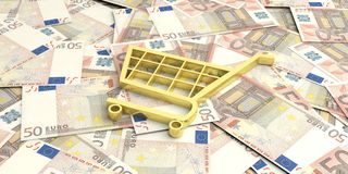 carro de la compra de la representación 3d en 50 billetes de banco de los euros Fotos de archivo libres de regalías