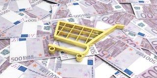carro de la compra de la representación 3d en 500 billetes de banco de los euros Fotografía de archivo libre de regalías