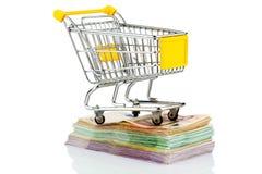 Carro de la compra en cuentas Imagen de archivo libre de regalías