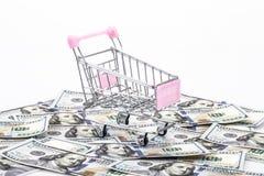 Carro de la compra en el dinero Foto de archivo