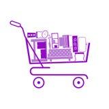 Carro de la compra en la tienda con muebles Fotografía de archivo