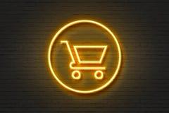 Carro de la compra de neón de la luz del icono libre illustration