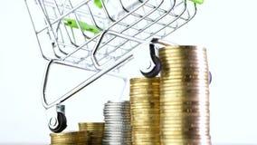 Carro de la compra o cesta de la compra en la pila de monedas del dinero almacen de metraje de vídeo