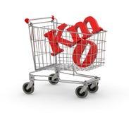 Carro de la compra por completo del símbolo cero de los kilómetros Imagen de archivo