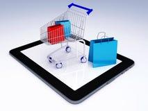 Carro de la compra sobre Tablet PC Concepto del comercio electrónico stock de ilustración