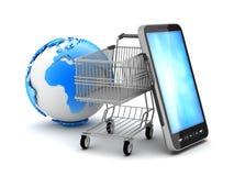 Carro de la compra, teléfono celular y globo de la tierra Fotografía de archivo