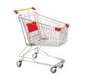 Carro de la compra vacío en el fondo blanco Imagenes de archivo