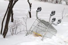 Carro de la compra vuelto hacia arriba y abandonado Fotografía de archivo libre de regalías