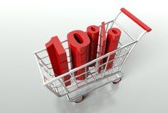 Carro de la compra y descuento del diez por ciento Imagen de archivo