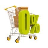 Carro de la compra y el 0 por ciento aislados en blanco Foto de archivo