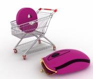 Carro de la compra y híbrido del ratón y del monedero del ordenador Imagen de archivo libre de regalías