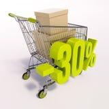 Carro de la compra y muestra de porcentaje, el 30 por ciento Foto de archivo libre de regalías