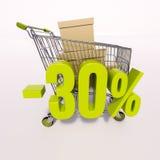 Carro de la compra y muestra de porcentaje, el 30 por ciento Foto de archivo