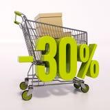Carro de la compra y muestra de porcentaje, el 30 por ciento Fotos de archivo