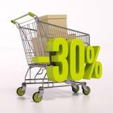 Carro de la compra y muestra de porcentaje, el 30 por ciento Imágenes de archivo libres de regalías