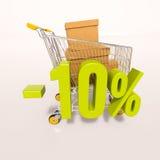 Carro de la compra y muestra de porcentaje, el 10 por ciento Imágenes de archivo libres de regalías