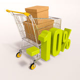 Carro de la compra y muestra de porcentaje, el 10 por ciento Fotografía de archivo
