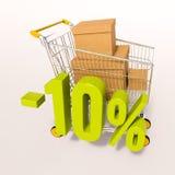 Carro de la compra y muestra de porcentaje, el 10 por ciento Imagen de archivo libre de regalías