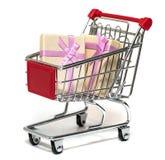 Carro de la compra y regalo Fotos de archivo libres de regalías
