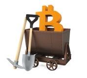 Carro de la explotación minera, piqueta, pala con el símbolo de Bitcoin aislada Fotos de archivo