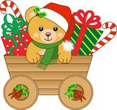 Carro de la Navidad con el oso de peluche stock de ilustración