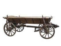 Carro de madeira áspero velho do vintage isolado no branco Imagens de Stock