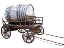 Carro de madeira com um barril. Foto de Stock
