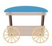 Carro de madeira isolado no fundo branco Fotografia de Stock Royalty Free