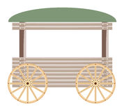 Carro de madeira isolado no fundo branco Imagens de Stock