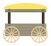 Carro de madeira isolado no fundo branco Fotos de Stock