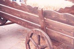 Carro de madera traído por caballo viejo Fotografía de archivo