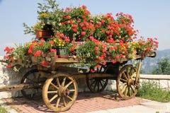 Carro de madera viejo con los crisoles de flores Fotografía de archivo libre de regalías