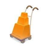 Carro de mano con la pila de rectángulos del cartón Foto de archivo libre de regalías